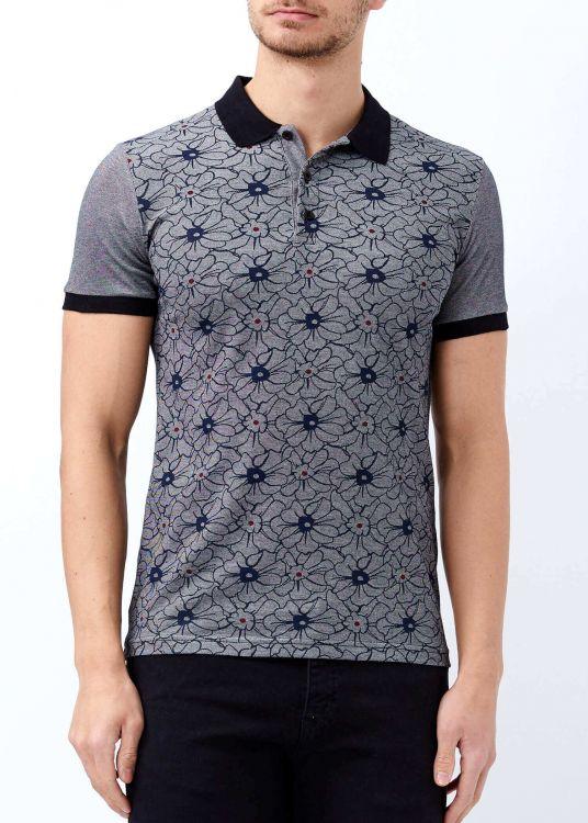 Siyah Erkek Çiçek Desenli Polo Yaka Tişört