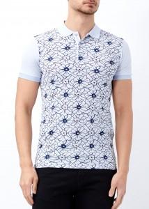 ADZE - Mavi Erkek Çiçek Desenli Polo Yaka Tişört