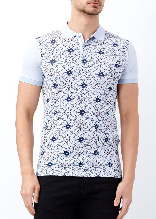 Mavi Erkek Çiçek Desenli Polo Yaka Tişört