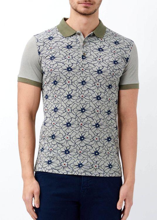 Haki Erkek Çiçek Desenli Polo Yaka Tişört