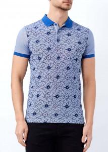 ADZE - Koyu Mavi Erkek Çiçek Desenli Polo Yaka Tişört