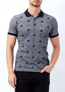 ADZE - Lacivert Erkek Çiçek Desenli Polo Yaka Tişört