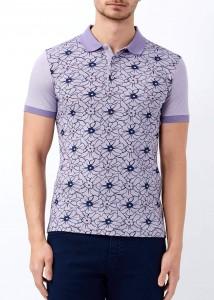 ADZE - Mor Erkek Çiçek Desenli Polo Yaka Tişört