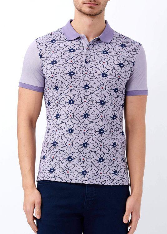 Mor Erkek Çiçek Desenli Polo Yaka Tişört