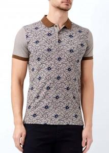 ADZE - Kahverengi Erkek Çiçek Desenli Polo Yaka Tişört
