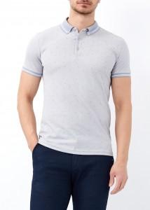 ADZE - Gri Erkek Yaka Çizgili Desenli Polo Yaka Tişört