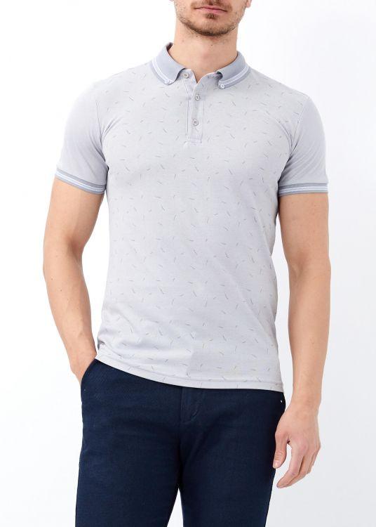 Gri Erkek Yaka Çizgili Desenli Polo Yaka Tişört