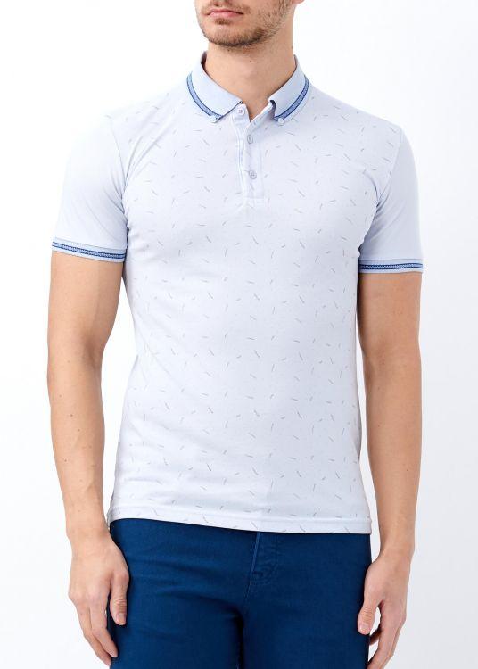 Mavi Erkek Yaka Çizgili Desenli Polo Yaka Tişört