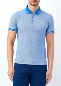 ADZE - Mavi Erkek Yaka Çizgili Desenli Polo Yaka Tişört