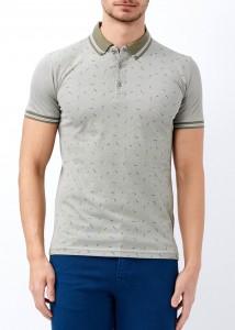 ADZE - Haki Erkek Yaka Çizgili Desenli Polo Yaka Tişört