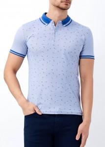 ADZE - Açık Mavi Erkek Yaka Çizgili Desenli Polo Yaka Tişört