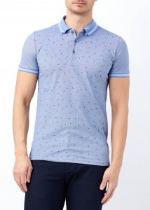 ADZE - Koyu Mavi Erkek Yaka Çizgili Desenli Polo Yaka Tişört