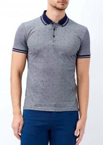 ADZE - Lacivert Erkek Yaka Çizgili Desenli Polo Yaka Tişört