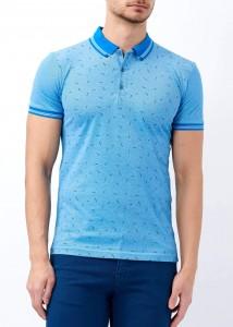 ADZE - Turkuaz Erkek Yaka Çizgili Desenli Polo Yaka Tişört