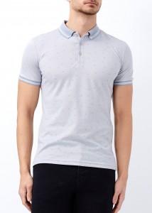 ADZE - Gri Erkek Slim Fit Desenli Polo Yaka Tişört