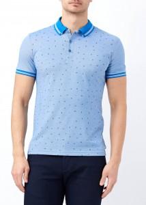 ADZE - Mavi Erkek Slim Fit Desenli Polo Yaka Tişört