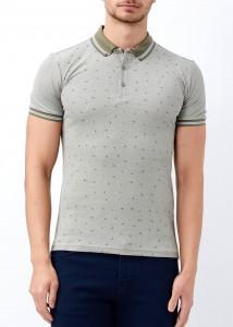 ADZE - Haki Erkek Slim Fit Desenli Polo Yaka Tişört