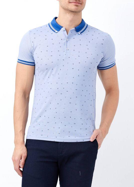 Açık Mavi Erkek Slim Fit Desenli Polo Yaka Tişört