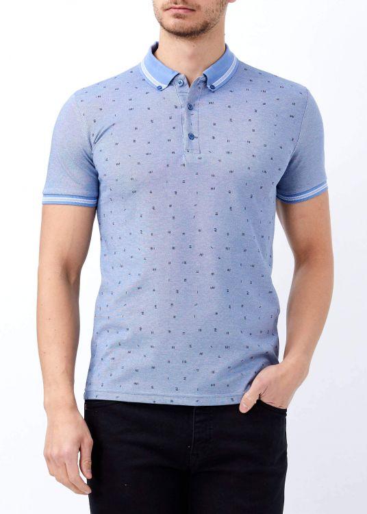 Koyu Mavi Erkek Slim Fit Desenli Polo Yaka Tişört