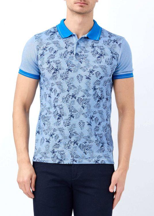 Mavi Erkek Baskılı Slim Fit Polo Yaka Tişört