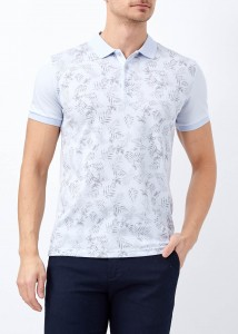 ADZE - Mavi Erkek Baskılı Slim Fit Polo Yaka Tişört