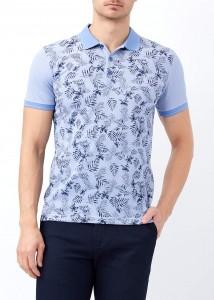 ADZE - Açık Mavi Erkek Baskılı Slim Fit Polo Yaka Tişört