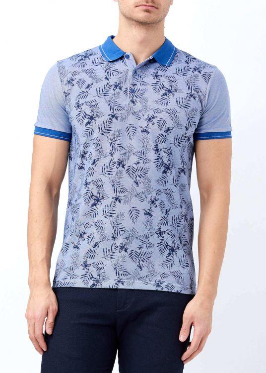 Koyu Mavi Erkek Baskılı Slim Fit Polo Yaka Tişört