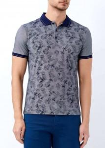 ADZE - Lacivert Erkek Baskılı Slim Fit Polo Yaka Tişört