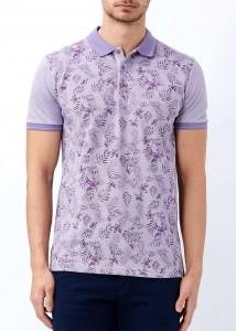 ADZE - Mor Erkek Baskılı Slim Fit Polo Yaka Tişört