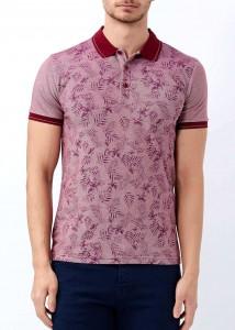 ADZE - Bordo Erkek Baskılı Slim Fit Polo Yaka Tişört