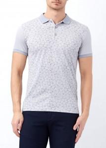 ADZE - Gri Erkek Çiçek Baskılı Polo Yaka Tişört