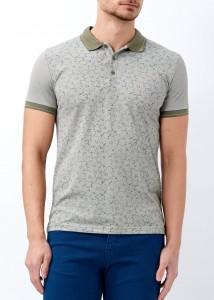 ADZE - Haki Erkek Çiçek Baskılı Polo Yaka Tişört