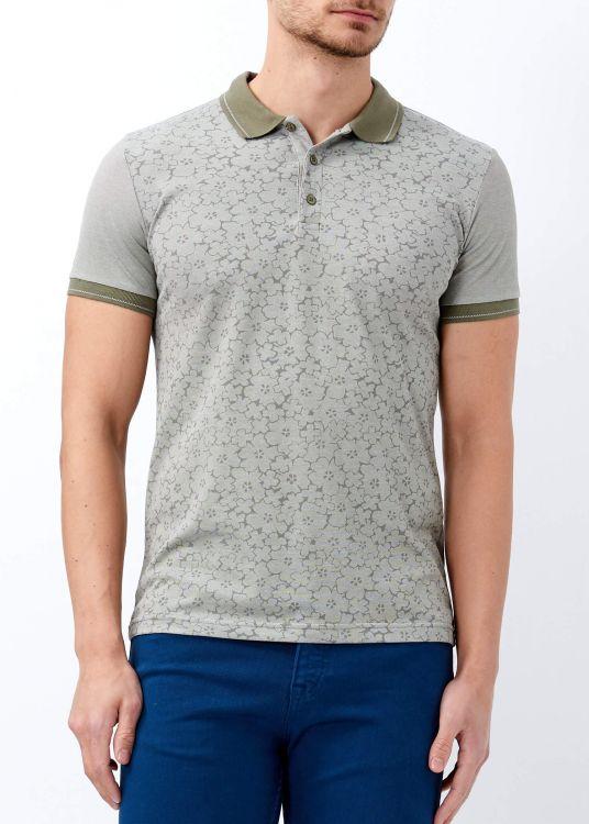 Haki Erkek Çiçek Baskılı Polo Yaka Tişört