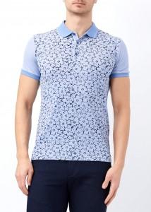 ADZE - Açık Mavi Erkek Çiçek Baskılı Polo Yaka Tişört