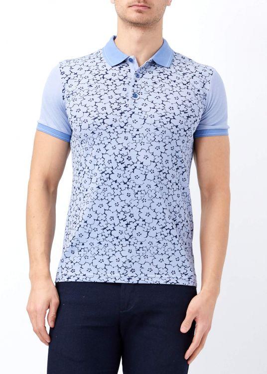 Açık Mavi Erkek Çiçek Baskılı Polo Yaka Tişört