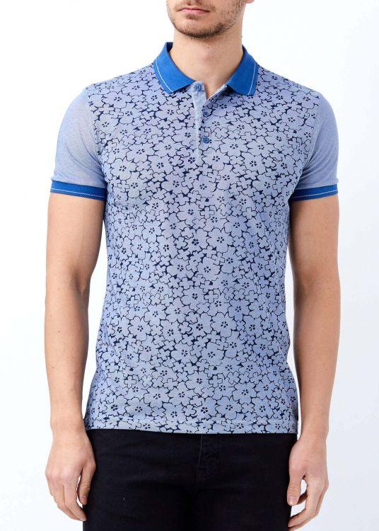 Koyu Mavi Erkek Çiçek Baskılı Polo Yaka Tişört