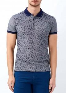 ADZE - Lacivert Erkek Çiçek Baskılı Polo Yaka Tişört