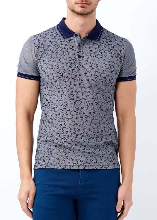 Lacivert Erkek Çiçek Baskılı Polo Yaka Tişört
