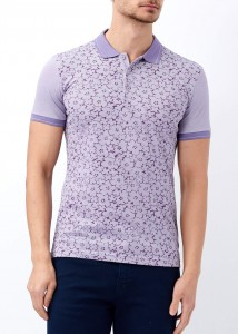 ADZE - Mor Erkek Çiçek Baskılı Polo Yaka Tişört