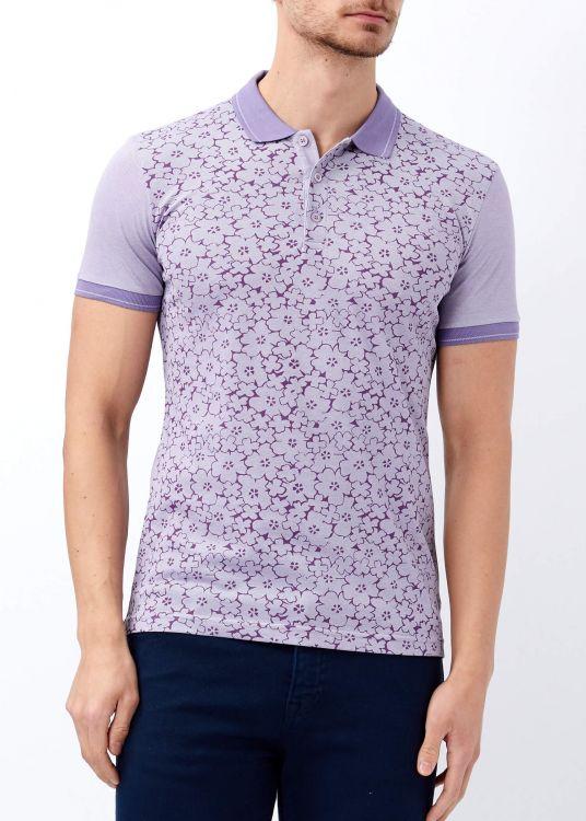 Mor Erkek Çiçek Baskılı Polo Yaka Tişört