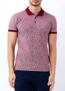 ADZE - Bordo Erkek Çiçek Baskılı Polo Yaka Tişört