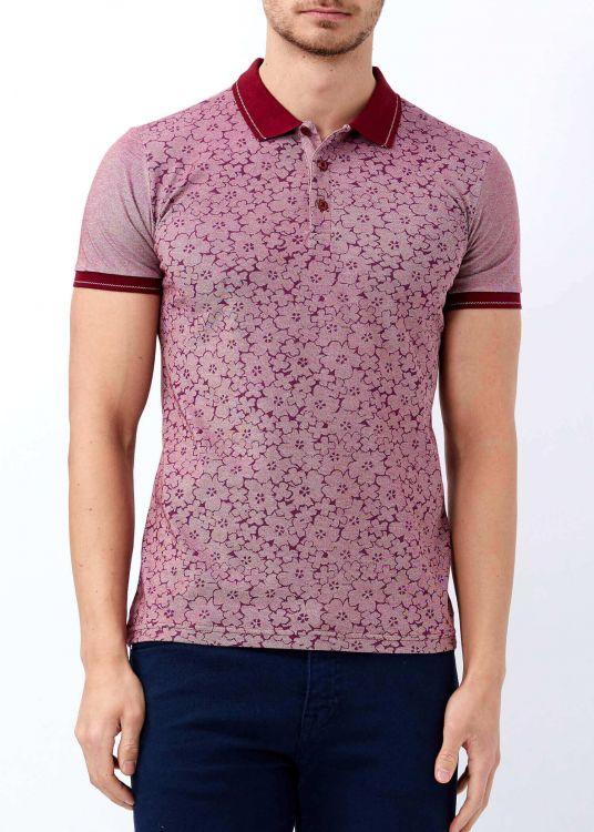 Bordo Erkek Çiçek Baskılı Polo Yaka Tişört