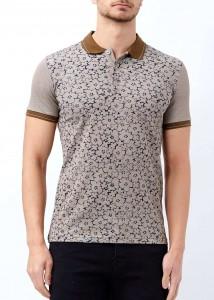 ADZE - Kahverengi Erkek Çiçek Baskılı Polo Yaka Tişört