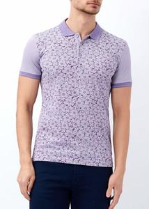 ADZE - Erkek Mor Çiçek Baskılı Polo Yaka Tişört