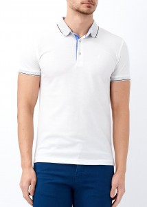 ADZE - Erkek Beyaz Yaka Desenli Slim Fit Polo Yaka Tişört