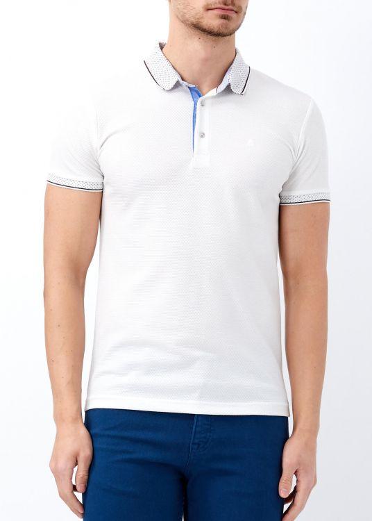 Erkek Beyaz Yaka Desenli Slim Fit Polo Yaka Tişört