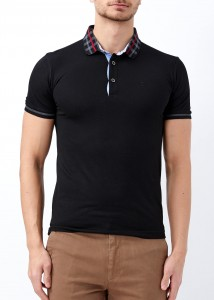 ADZE - Erkek Siyah Polo Yaka Slim Fit Tişört