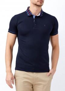 ADZE - Erkek Lacivert Polo Yaka Slim Fit Tişört