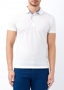 ADZE - Erkek Beyaz Slim Fit Düz Polo Yaka Tişört
