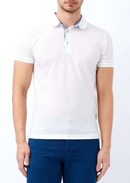 Erkek Beyaz Slim Fit Düz Polo Yaka Tişört